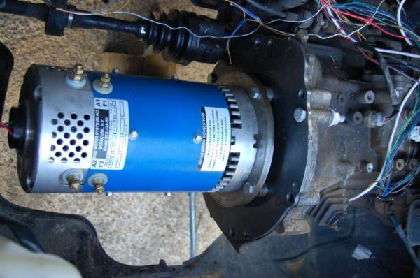 Motor bolted to gear box