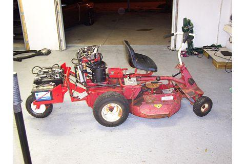 Electric battery powered riding mower