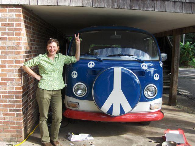 Kathi and her 1971 VW bus (pre-electric)