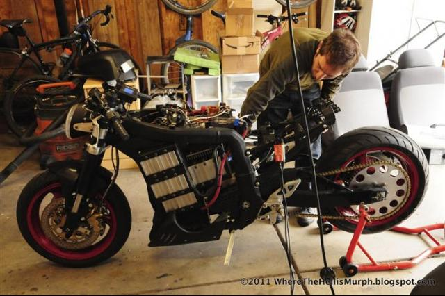 Working on the bike.