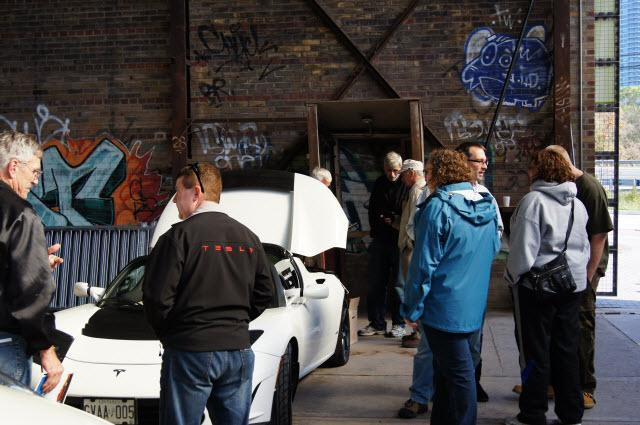 Tesla Draws a crowd in the corder
