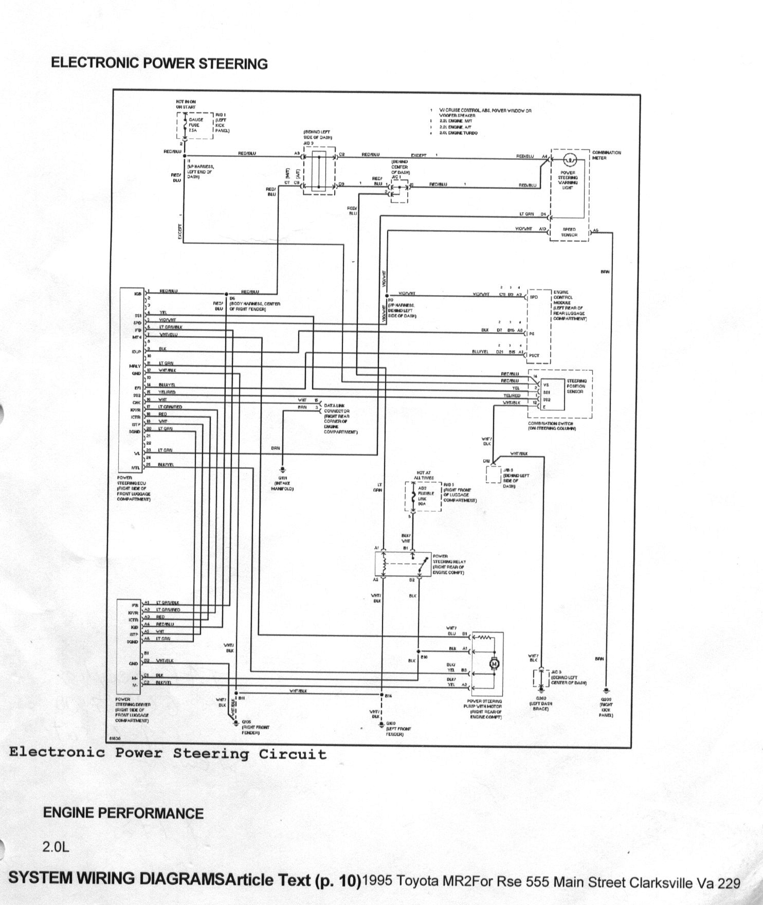 toyota mr2 power steering system circuit diagram 1