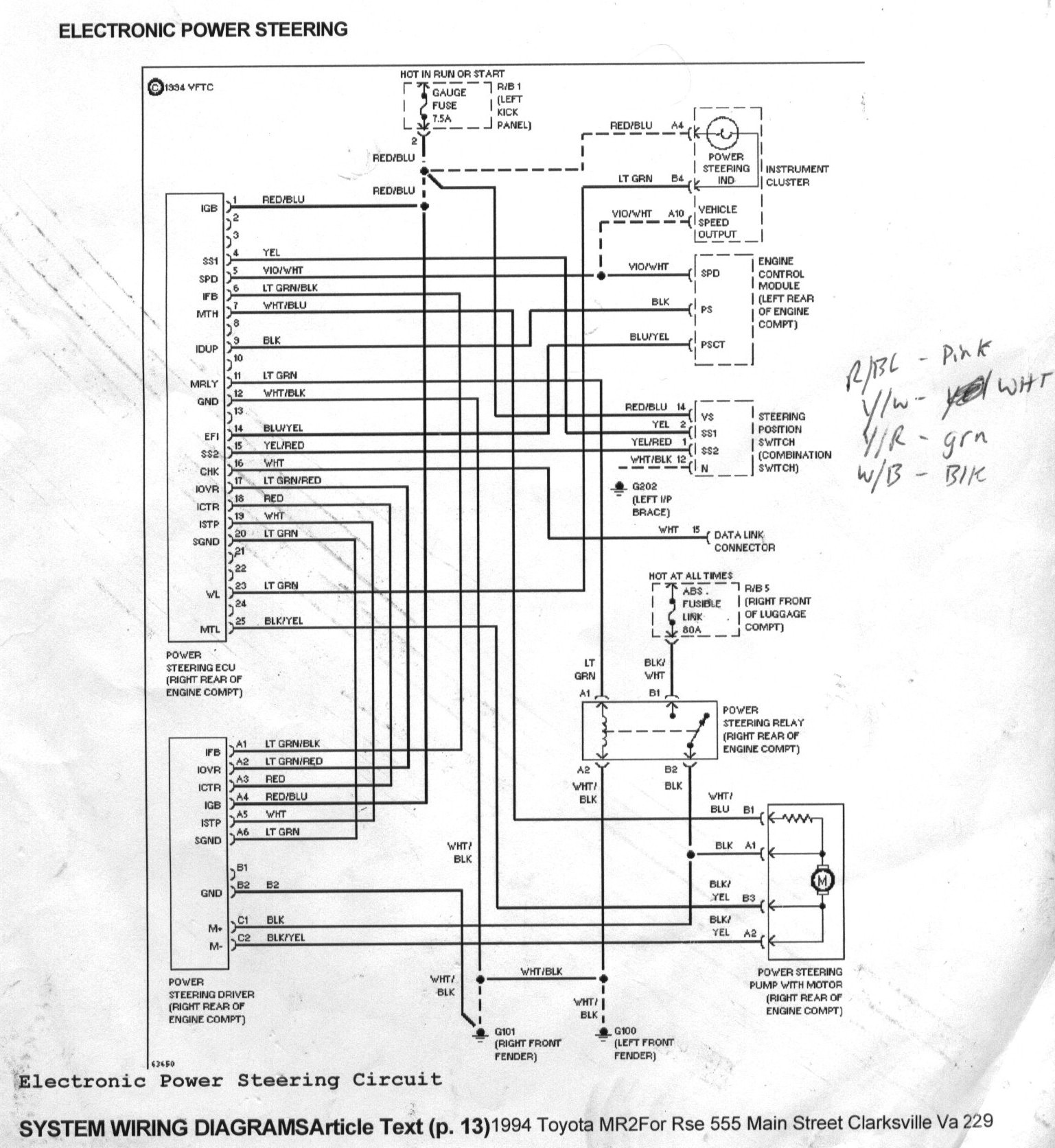 toyota mr2 power steering system circuit diagram 2